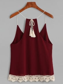 Burgundy Lace Up Fringe Crochet Trim Cami Top