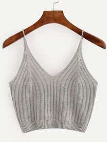Grey Ribbed Knit Crop Cami Top