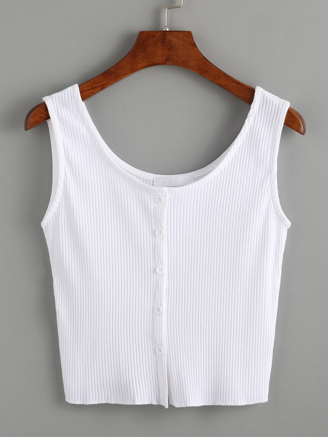 White Buttoned Front Ribbed Knit Crop Tank Top