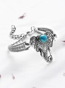 bracelet turquoise antiquités incrustations d'éléphant