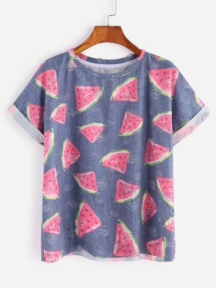 Blue Watermelon Print Short Sleeve T-shirt