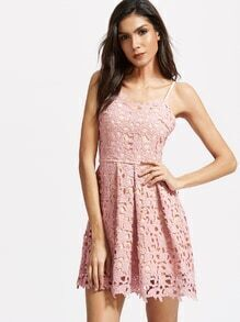 Pink Lace Crochet Overlay Cami Dress