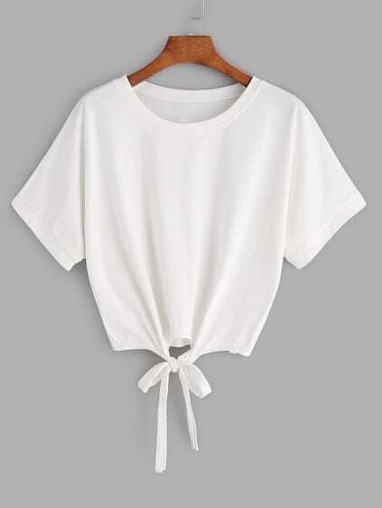 White Tie Front Crop T-shirt