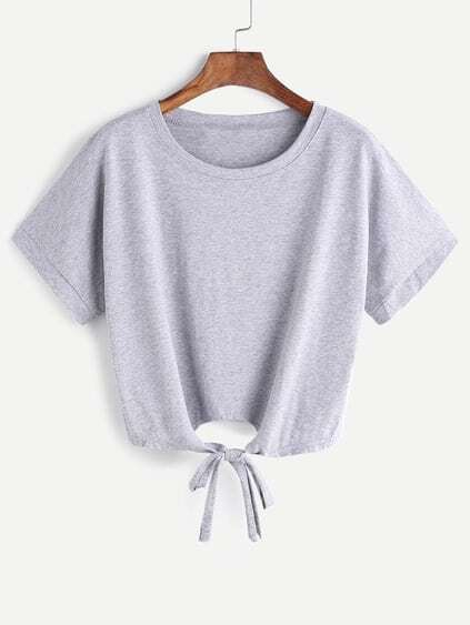 Grey Tie Front Crop T-shirt