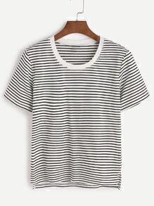 t-shirt asymétrique contraste rayé garniture