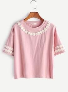Pink Flower Applique Drop shoulder T-shirt
