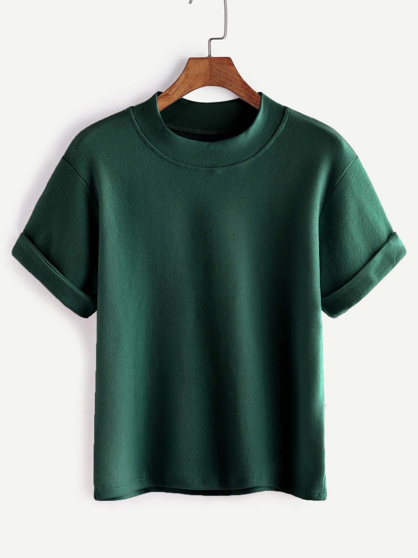Dark Green Mock Neck Cuffed T-shirt
