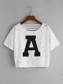 print shirt avec courte lettre de retour avec ouverture - blanc