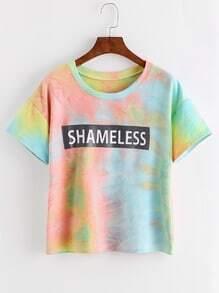 Tie Dye Letter Print Drop Shoulder T-shirt