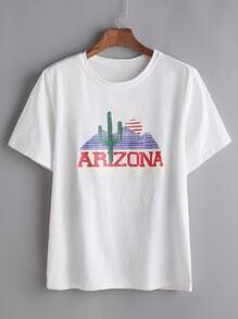 Lettre T-shirt imprimé - blanc