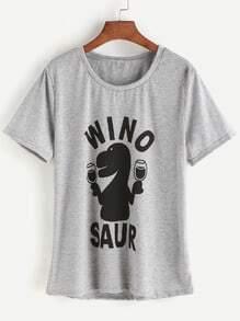 Grey Cartoon Print T-shirt