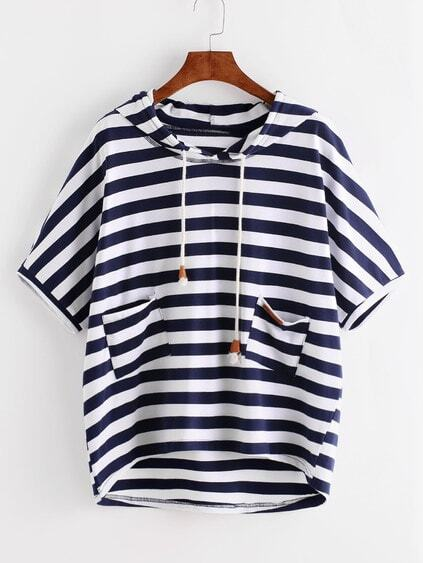 Striped High Low Hooded T-shirt