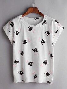 Camiseta con estampado de guantes - blanco