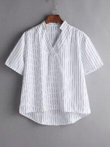 Blusa asimétrica con cuello en V de rayas verticales - blanco