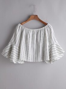 Vertical Striped Boat Neck Bell Sleeves Ruffle Blouse