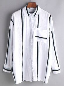 White Vertical Striped Pocket Shirt