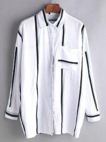 Des bandes verticales blouse avec poche - blanc