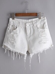 White Ripped Fraying Raw Hem Denim Shorts