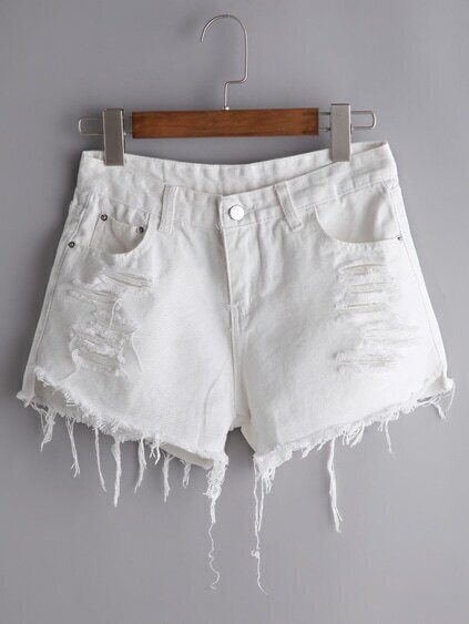 Shorts rotos desflecados en denim - blanco