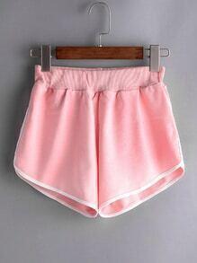 Shorts ribete en contraste cintura elástica - rosa