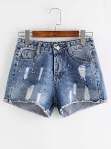 Shorts rotos en denim - azul