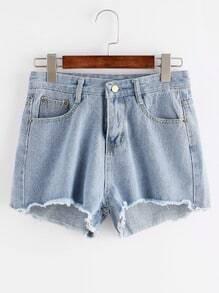 Ausgefranste Denim-Shorts - Hellblau