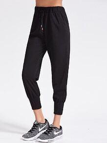 Pantalones cintura con cordón - negro
