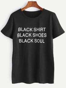 T-shirt noir imprimé lettres