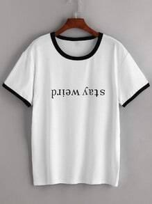 Weißes Kontrast-Ordnungs-Buchstabe-Druck-T-Shirt