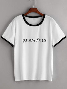 White Contrast Trim Letter Print T-shirt