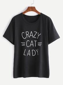 T-shirt noir d'impression de lettre