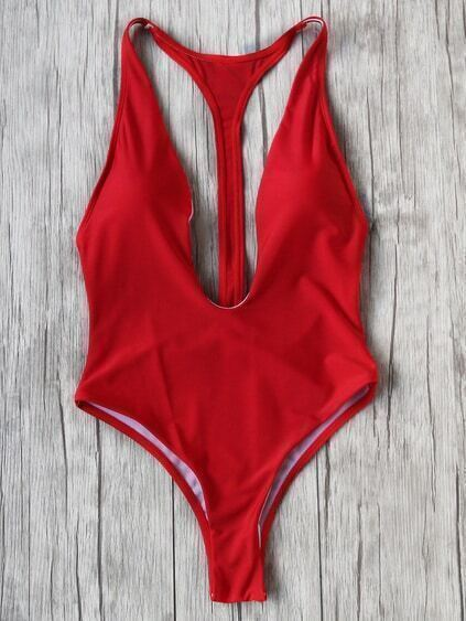 Red Plunge Neck One-Piece Bademode