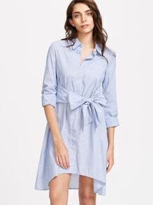 Blue Bow Tie Front High Low Shirt Dress
