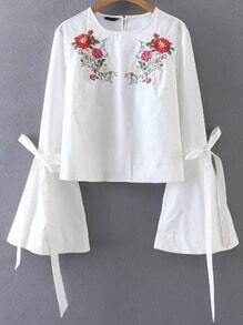 White Flower Embroidery Tie Cuff Bell Sleeve Blouse