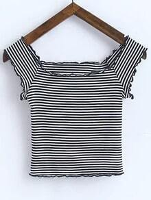 Contrast Striped Scoop Neck T-shirt