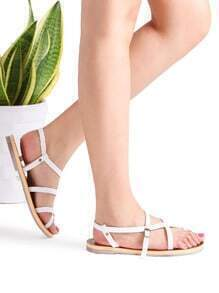 White Cross Detail Flat Sandals