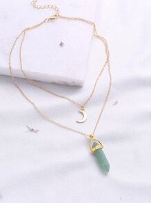 Green Pendant Double Layered Necklace