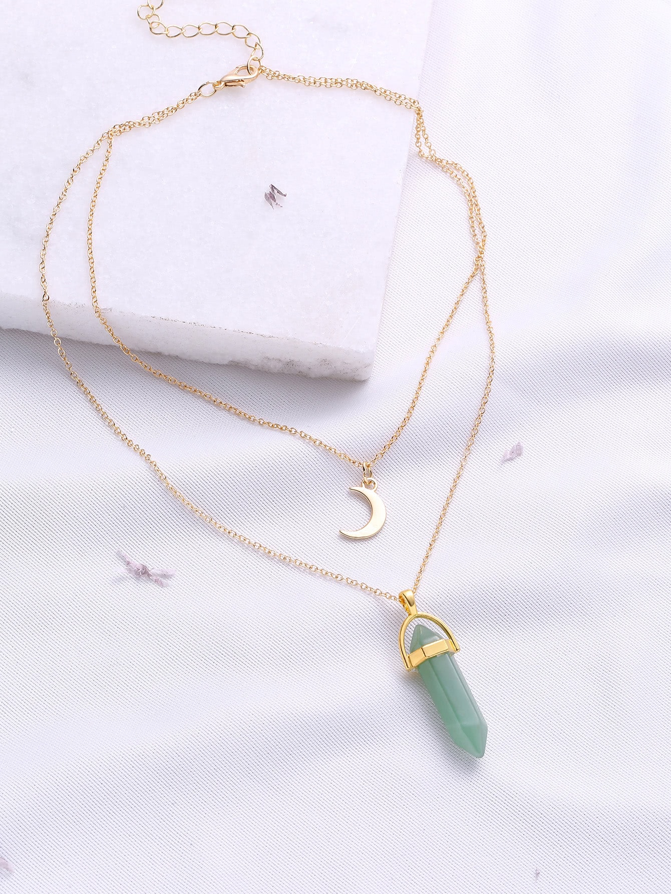 Зеленый Подвеска Двухслойной Ожерелье