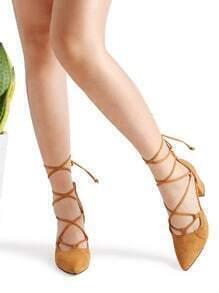 Khaki Point Toe Lace Up Heeled Shoes