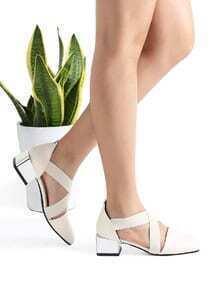 Zapatos ballet de tacón grueso cruzado - beige