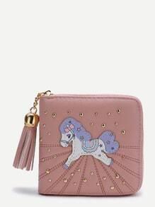 Monedero cuadrado con parche de caballo - rosa