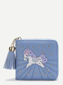 Horse Print Blue Square Purse