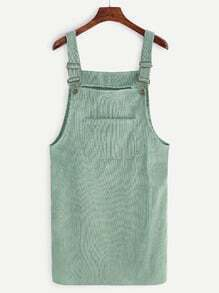 Green Corduroy Pinafore Dress With Pockets