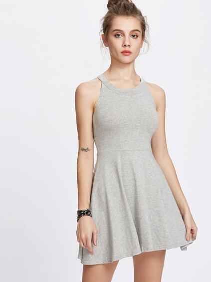 Grey Halter A-Line Flare Dress