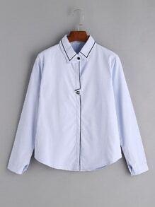 Blue Embroidered Trim Detail Shirt