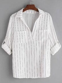 Blusa de rayas verticales de manga remangada - blanco