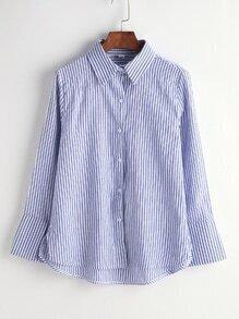 Blue Striped Slit Side High Low Shirt