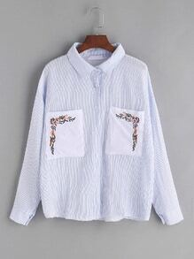 Blue Striped Embroidered Pockets Shirt