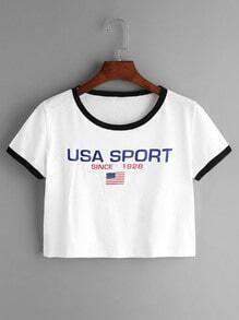 Shirt avec le drapeau imprimé américain bordure contrastante - blanc