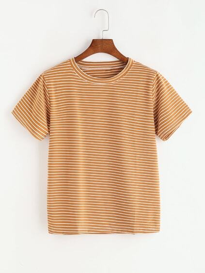 Khaki Striped Short Sleeve T-shirt